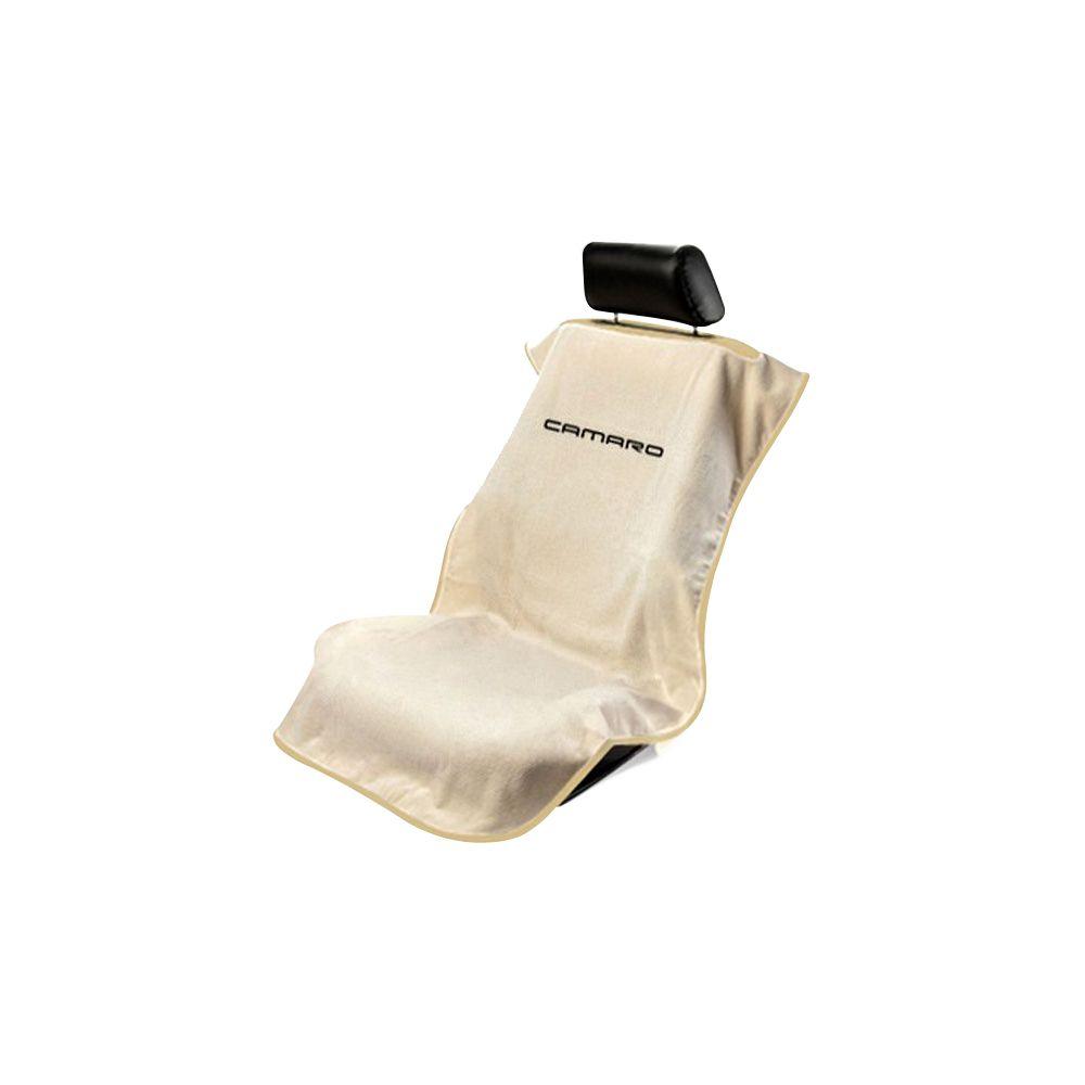 Seat Armour ® - Tan Towel Seat Cover with New Camaro Logo (SA100NCAMT)