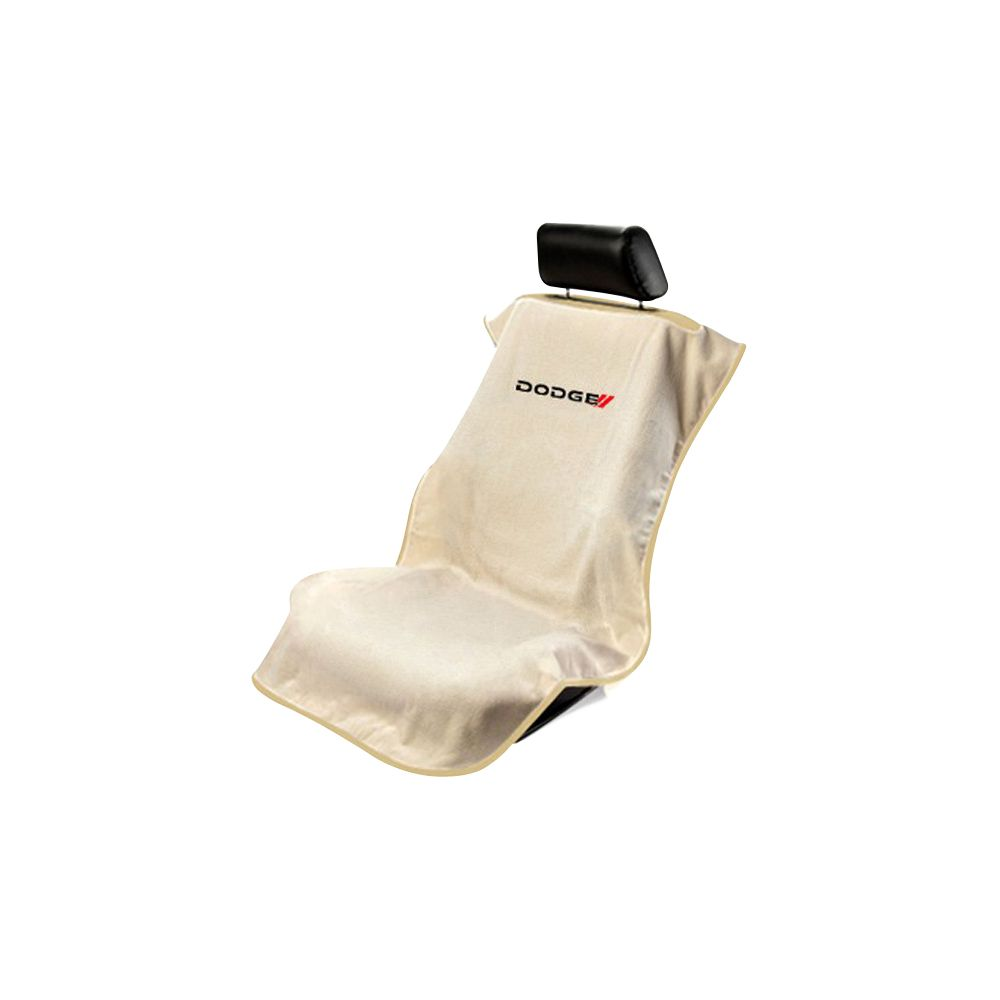 Seat Armour ® - Tan Towel Seat Cover with New Dodge Logo (SA100NDODT)