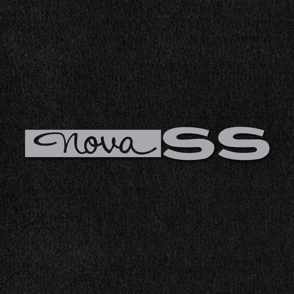 Lloyd Mats ® - Velourtex Black Front Floor Mats For Chevrolet Nova 1963-64 with Nova SS Embroidery