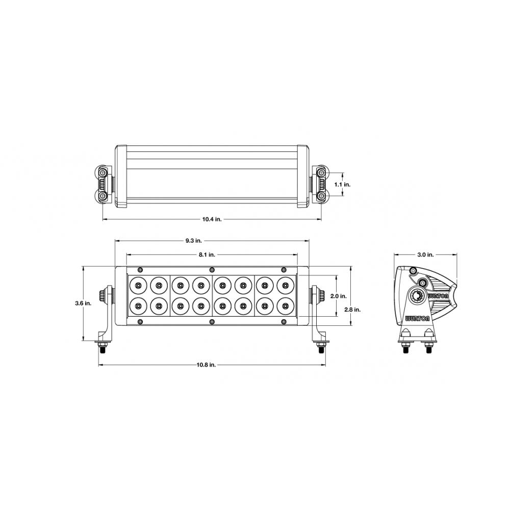 Wurton ® - 10 Inch 5 Watt High Power Spot Beam LED Light Bar Kit (31011)