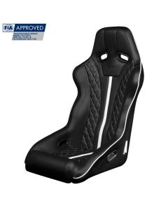 Braum ® - Black Leatherette FIA Approved Fixed Back FALCON X Series Diamond Edition Racing Seat with White Stitching and Piping (BRR8-BDWP)