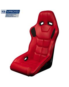 Braum Red Leatherette FIA Approved Fixed Back FALCON X Series Racing Seat With Black Piping BRR8-RDBP, Front side