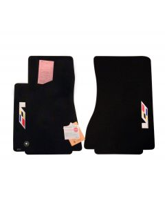 Lloyd Mats ® - Classic Loop Black Front Floor Mats For Cadillac CTS with Sideways V Series Flag Logo (Open Box)