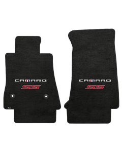 Lloyd ® - Velourtex™ Ebony Custom Front Floor Mats With Silver and Red Camaro SS Logo (620196) (Open Box)