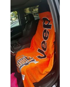Seat Armour Orange Towel 2 GO Seat Cover with Jeep Wrangler Logo T2G100OR, In situation Image
