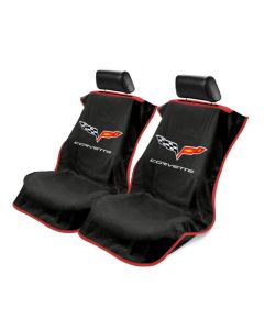 Black 4PC Towel Protectors For Corvette C6 - Seats, Console and Steering Wheel