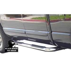 Black Horse Off Road ® - Stainless Steel 3 Inch Round Side Steps (9B076001DSS)