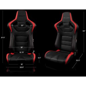 Braum ® - Pair of Black and Red Leatherette Carbon Fiber Mixed Elite Series Racing Seats (BRR1-BKRD)