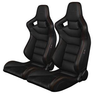 Braum ® - Pair of Black Leatherette Carbon Fiber Mixed Elite Series Racing Seats with Orange Stitches (BRR1-BKGS)