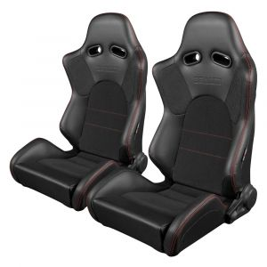 Braum ® - Pair of Black Leatherette Carbon Fiber Mixed Advan Series Racing Seats with Black Fabric Inserts and Red Stitches (BRR2-BKRS)