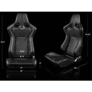 Braum ® - Pair of Black Leatherette Carbon Fiber Mixed Venom Series Racing Seats with Black Stitches (BRR7-BKBK)