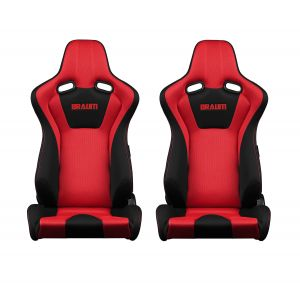 Braum ® - Pair of Black-Red Fabric Mesh Mixed Venom Series Racing Seats with Red Stitches (BRR7-BKRD)