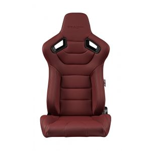 Braum ® - Pair of Maroon Leatherette Carbon Fiber Mixed Elite Series Racing Seats (BRR1-MRBS)