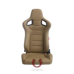Cipher Auto ® - Beige Leatherette Carbon Fiber Universal Euro Racing Seats (CPA2001PCFBG)