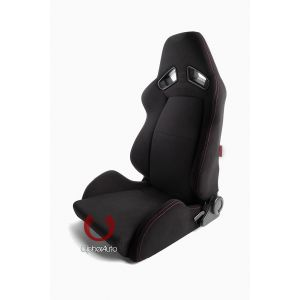 Cipher Auto ® - Black Fabric with Red Outer Stitching Universal AR-8 Revo Racing Seats (CPA2008FBK-R)