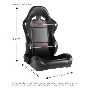 Cipher Auto ® - Black Leatherette Universal Racing Seats (CPA1001PBK)