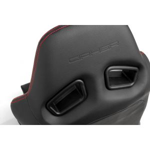 Cipher Auto ® - Black Leatherette with Red Outer Stitching Universal AR-8 Revo Racing Seats (CPA2008PBK-R)