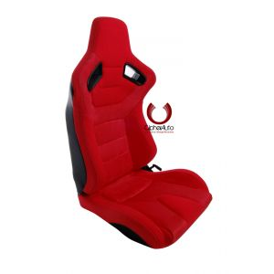 Cipher Auto ® - Red Suede and Fabric with Carbon Fiber Universal AR-9 Revo Racing Seats (CPA2009CFSDRD)
