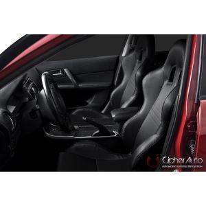 Cipher Auto ® - Black Carbon Fiber PVC Universal Racing Seats (CPA1007CFBK)