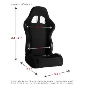 Cipher Auto ® - Black Cloth Universal Racing Seats (CPA1007FBK)