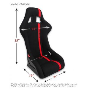 Cipher Auto ® - Red Fabric with Black Stripe Full Bucket Non Reclineable Universal Fiber Glass Racing Seat (CPA1008FRD)