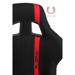 Cipher Auto ® - Black Fabric with Red Stripe Full Bucket Non Reclineable Universal Fiber Glass Racing Seat (CPA1008FBK)
