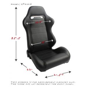 Cipher Auto ® - Black Leatherette Universal Racing Seats (CPA1013PBK)