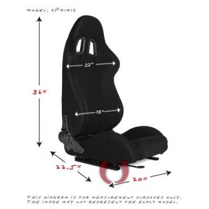 Cipher Auto ® - Black Cloth with Grey Stitching Universal Racing Seats (CPA1016FBK-G)