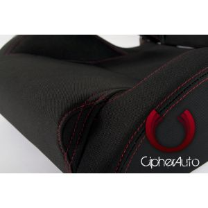 Cipher Auto ® - Black Cloth with Outer Red Stitching Universal Racing Seats (CPA1016FBK-R)
