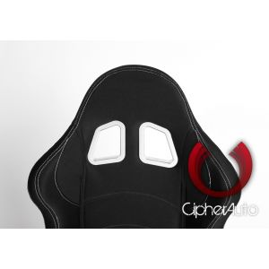 Cipher Auto ® - Black Cloth with Outer White Stitching Universal Racing Seats (CPA1016FBK-W)