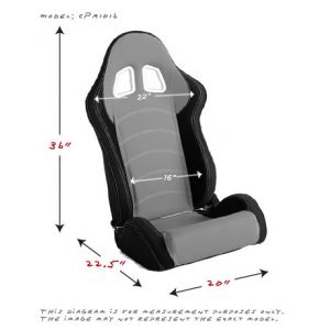 Cipher Auto ® - Black and Grey Cloth Universal Racing Seats (CPA1018FBKGY)