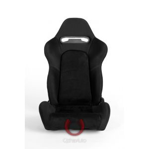 Cipher Auto ® - Black Cloth with Microsuede Insert and Grey Stitching Universal Racing Seats (CPA1019FSDBK-G)