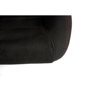 Cipher Auto ® - Black Cloth with Microsuede Insert and Red Stitching Universal Racing Seats (CPA1019FSDBK-R)