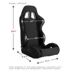 Cipher Auto ® - Black Cloth Universal Racing Seats (CPA1025FBK)