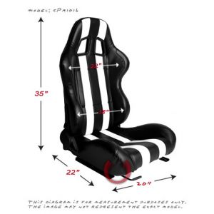 Cipher Auto ® - Black Leatherette with White Stripes Universal Racing Seats (CPA1026PBK-W)