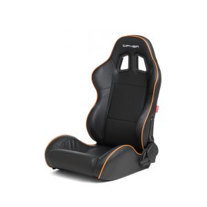 Cipher Auto ® - Black Leatherette with Orange Accent Piping Universal Racing Seats (CPA1031PBK-O)