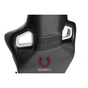 Cipher Auto ® - Black Leatherette Carbon Fiber with White Stitching Universal Euro Racing Seats (CPA2001PCFBK-W)