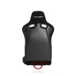 Cipher Auto ® - Black Cloth and Black Carbon PU with Black Stitching Universal Viper Racing Seats (CPA2002CFBK)