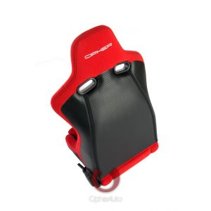 Cipher Auto ® - Red Cloth with Black Carbon PU Universal Viper Racing Seats (CPA2002CFBKRD)