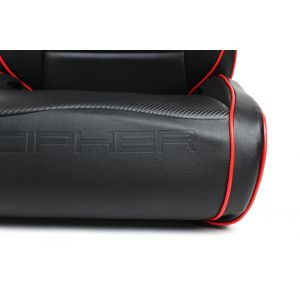 Cipher Auto ® - Black Leatherette with Red Piping Universal Suspension Seats (CPA3002PBK-R)