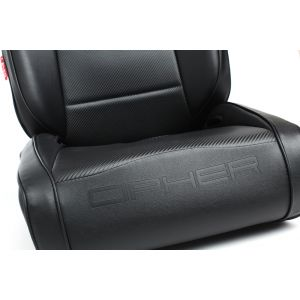 Cipher Auto ® - Black Leatherette with Black Piping Universal Suspension Seats (CPA3002PBK)