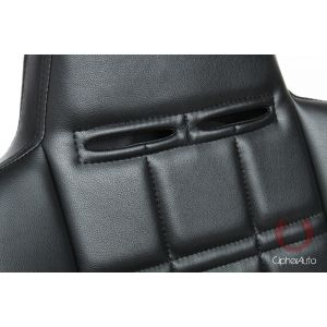 Cipher Auto ® - Black Leatherette Fixed Back Universal Suspension Seat (CPA3003PBK)