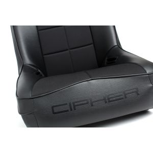 Cipher Auto ® - Black Leatherette with Fabric Insert Fixed Back Universal Suspension Seat (CPA3004FBK)