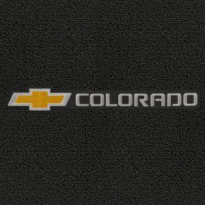 Lloyd Mats ® - Classic Loop Black Front Floor Mats For Chevrolet Colorado 2004-16 With Chevrolet Bowtie & Colorado Silver Applique