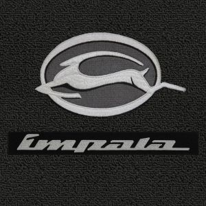 Lloyd Mats ® - Classic Loop Black Front Floor Mats For Chevy Impala 1991-96 & 2000-05 With Impala Logo and Impala Script Silver Applique