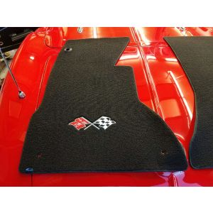 Lloyd Mats ® - Classic Loop Black Front Floor Mats For Corvette C1 with Corvette Chevrolet Cross Flags Applique
