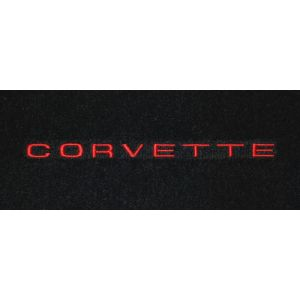 Lloyd Mats ® - Classic Loop Black Front Floor Mats For Corvette C3 with Corvette Red Script Embroidery