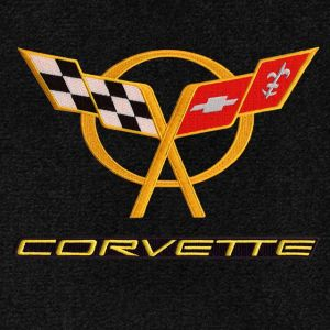 Lloyd Mats ® - Classic Loop Black Front Floor Mats For Corvette C5 with C5 Yellow Logo / Corvette Yellow on Black Applique