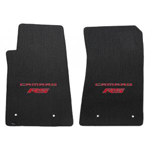 Lloyd Mats ® - Classic Loop Ebony Front Floor Mats For Chevrolet Camaro 2010-15 with Red Camaro RS Script Logo