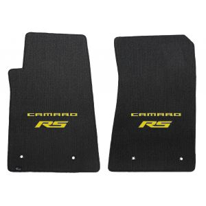 Lloyd Mats ® - Classic Loop Ebony Front Floor Mats For Chevrolet Camaro 2010-15 with Yellow Camaro RS Script Logo